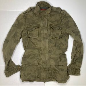 7 For All Mankind Camo Jacket Zip Snap Size Small